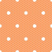 White polka dot on orange lace mesh seamless pattern, vector