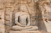 picture of polonnaruwa  - Statue of seating Buddha in Polonnaruwa  - JPG