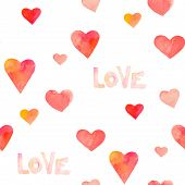 Watercolor hearts seamless pattern