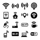 Wireless technology, Wi-Fi web icons set.