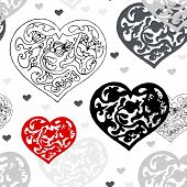 Black and white ornamental  hearts  pattern