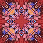 Flowers. Seamless kaleidoscopic pattern