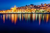 image of blue-bell  - Night skyline of colorful village Menton in Provence France - JPG