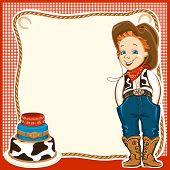 picture of wrangler  - Cowboy happy child in western traditional clothes and holiday cake - JPG