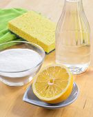 Natural Cleaners. Vinegar, Baking Soda, Salt And Lemon.