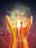 stock photo of healing hands  - Mystical energy generating from open hands - JPG
