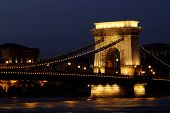Night Image Of The Hungarian Chain Bridge
