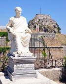 Old fortress and the statue of the town of Corfu, Greece, Europe