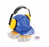 Ear muffs on hard hat and gloves.