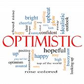 stock photo of idealistic  - Optimistic Word Cloud Concept with great terms such as hopeful upbeat happy and more - JPG