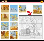 foto of chimp  - Cartoon Illustration of Education Jigsaw Puzzle Game for Preschool Children with Funny Safari Wild Animals Group - JPG