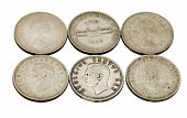 Six Vintage Union Of South Africa Five Shilling Coins