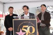 Russell Crowe, Brian Grazer and Ron Howard at the Russell Crowe star ceremony into the Hollywood Wal