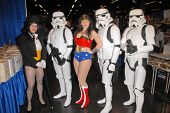 Jacquelyn D. Crinnion and costumed attendees at the Wizard World Anaheim Comic Con Day 1, Anaheim Co