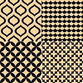 Beige and black geometric seamless patterns set, vector