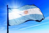 Argentina flag waving on the wind