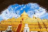 picture of pagan  - Shwezigon golden old Pagoda Bagan  - JPG