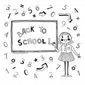 Back to school. Schoolgirl at the blackboard.