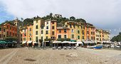 stock photo of genova  - Portofino village near Rapallo Genova Ligurian Coast Italy - JPG