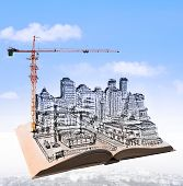 Sketching Of Building Construction On Flying Book Over Urban Scene Use For Civil Engineering And Lan