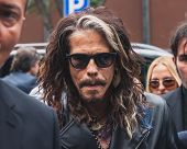 Singer Steven Tyler Outside Armani Fashion Shows Building For Milan Men's Fashion Week 2014