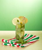 Cold drink with lemon slice, spearmint