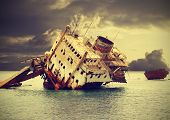 picture of shipwreck  - The sunken shipwreck on the reef Egypt vintage retro filtered - JPG