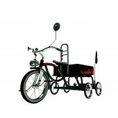 image of tricycle  - illustration of a black tricycle isolated on white background - JPG