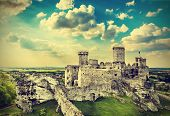 Ruins Of A Castle, Ogrodzieniec Fortifications, Poland, Vintage Retro Filter.
