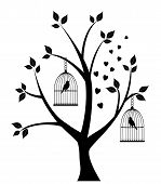 stock photo of caged  - vector illustration of a tree with bird cages - JPG