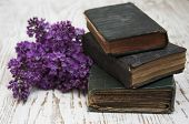 Old Books  And Lilac Branch