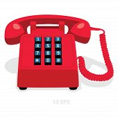 Red Stationary Phone With Button Keypad. Vector Illustration.