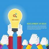 picture of lightbulb  - Hands with lightbulb idea concept in flat design - JPG