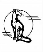 picture of panther  - The stylized image of a seated panther silhouette vector - JPG
