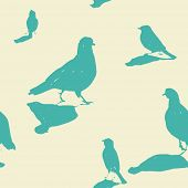 City birds vintage seamless pattern