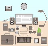 Flat modern design vector illustration concept of creative office workspace, workplace. Icon collect