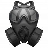 Military black gasmask respirator. Isolated on white background. Bitmap copy.