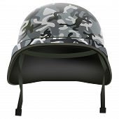 Military helmet with camo pattern. Isolated on white background. Bitmap copy.