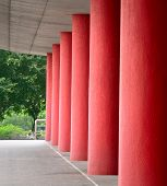Red pillars of modern architecture