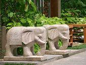 Stone elephant sculpture at the door