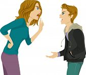 Illustration of a Mother and Son Arguing