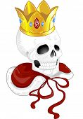 Illustration of a Tattoo Design Featuring a SKull Wearing a Golden Crown and a Red Cape