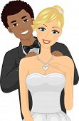 Illustration of an African-American Guy Putting a Necklace on His Caucasian Girl