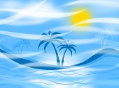 Tropical Island Represents Palm Tree And Background