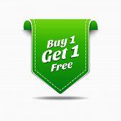 Buy 1 Get 1 Green Label Icon Vector Design
