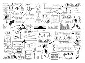Black and white drawing of many different business elements. Finances, money, success and market con