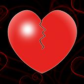 Broken Heart Represents Valentines Day And Affection
