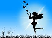 Butterflies Blue Means Fairy Tale And Sun