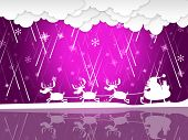 Xmas Rain Shows Santa Claus And Christmas