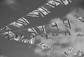Israel Flag Chain On Independence Day (black And White)